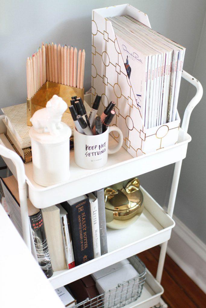 Cart Desk Organization Ideas