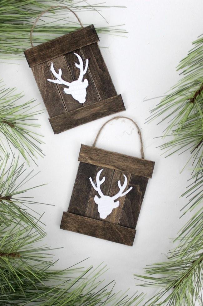 Deer Pallet Christmas Ornaments