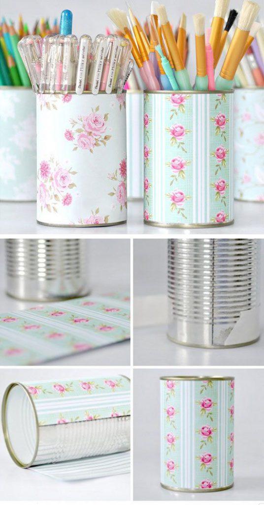 Tin Cans Desk Organization Ideas