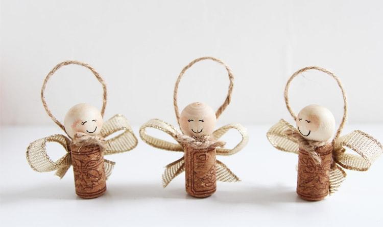 Wine Cork Angels Christmas Ornaments