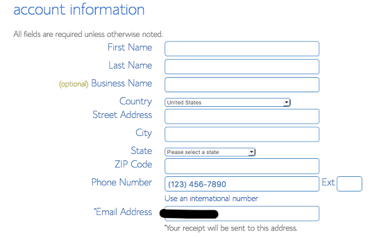 Bluehost personal info