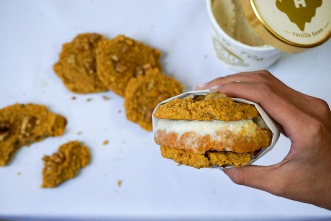 Pumpkin Spice Ice Cream Sandwich Cookies