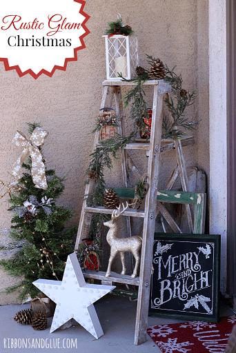 Rustic Ladder Porch Decor