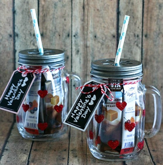 Glittered Heart Mason Jar Tumblers