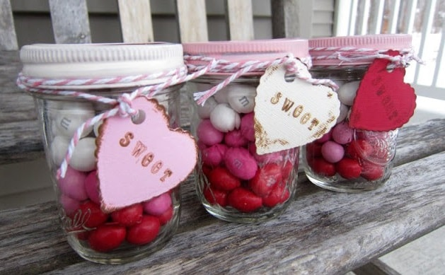 Layered Candy Mason Jar for Valentine's Day