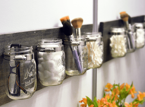Mason Jar Bathroom Organizer