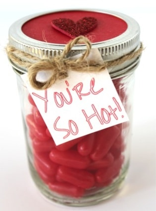 Red Hots Valentine's Candy Gift in a Jar