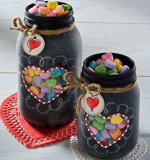 Valentine Chalkboard Mason Jars