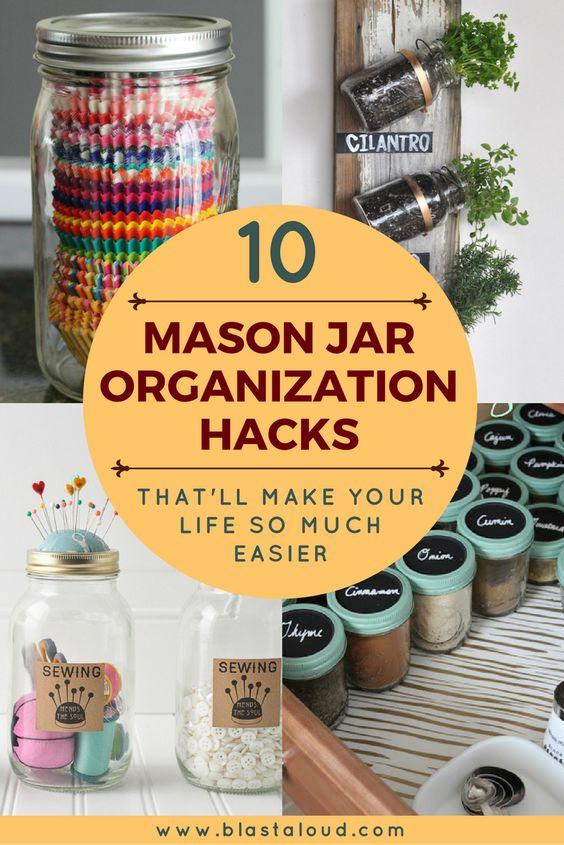 Mason jar organization and storage ideas