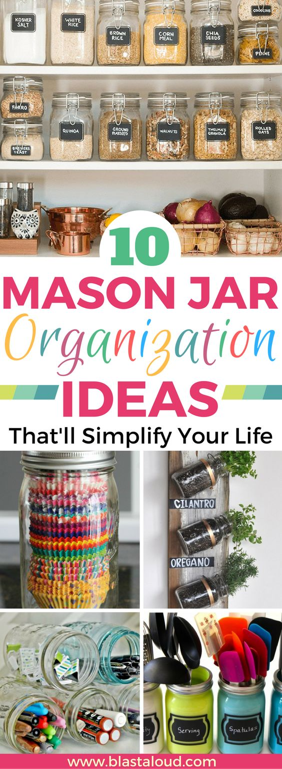 Mason jar organization and storage ideas