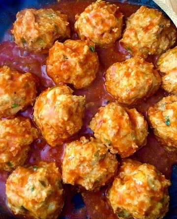 Low Carb Keto Snacks On The Go: Buffalo Chicken Meatballs