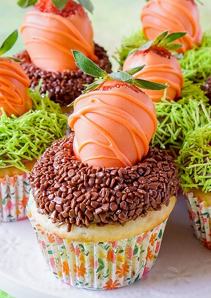 Easy Easter Desserts Recipes: Carrot Patch Cupcakes