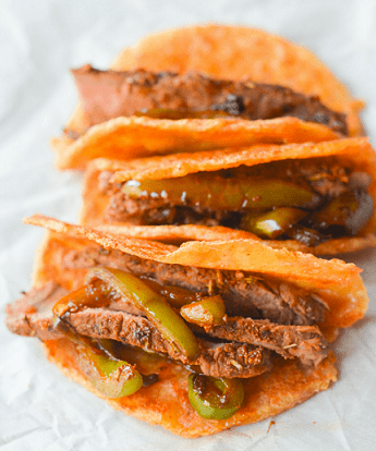 Low Carb Keto Snacks On The Go: Keto Steak Tacos on Pork Rind Tortillas