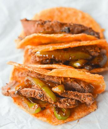 Low Carb Keto Snacks On The Go: Keto Steak Tacos on Pork Rind Tortillas