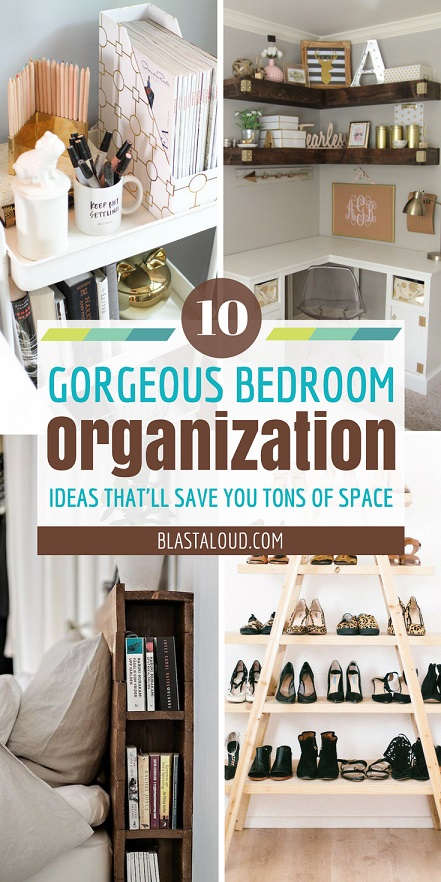 A collage showing bedroom organization ideas for small bedrooms