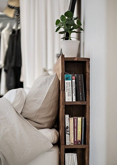 A bed headboard with hidden storage