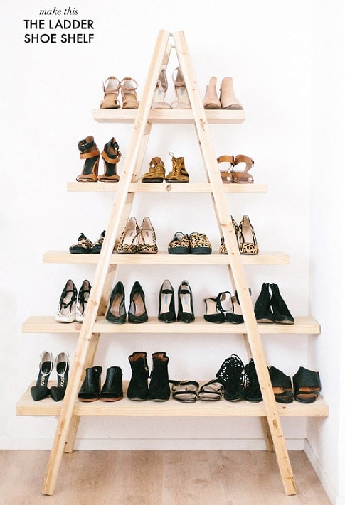 Bedroom organization ideas: Ladder Shoe Shelf
