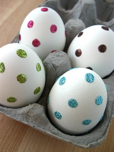 DIY Easter Egg Decorating Ideas: Sparkly Dot Easter Eggs