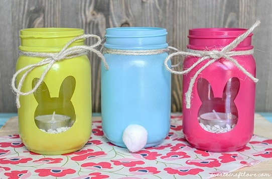 25 diy easter mason jar ideas that everyone will love easter mason jar ideas bunny luminary jars negle Image collections