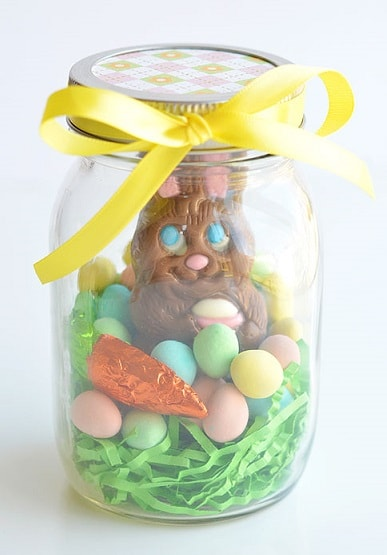 25 diy easter mason jar ideas that everyone will love easter mason jar ideas chocolate bunny gift negle Image collections