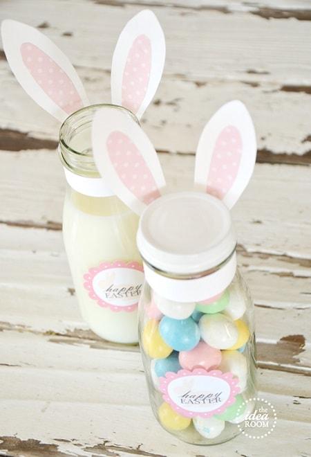 25 diy easter mason jar ideas that everyone will love easter mason jar ideas easter bunny gift jars labels negle Choice Image