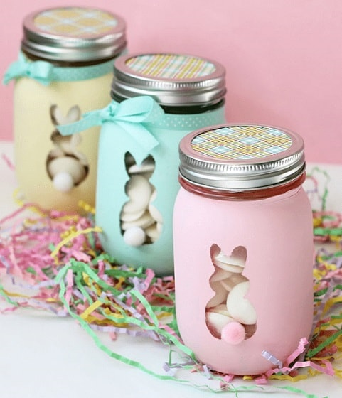 Easter Mason Jar Ideas: Easter Bunny Mason Jars