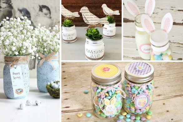 Collage of Easter Mason Jar Ideas