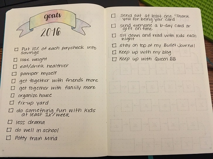 Bullet Journal Ideas: Easy Goals Spread