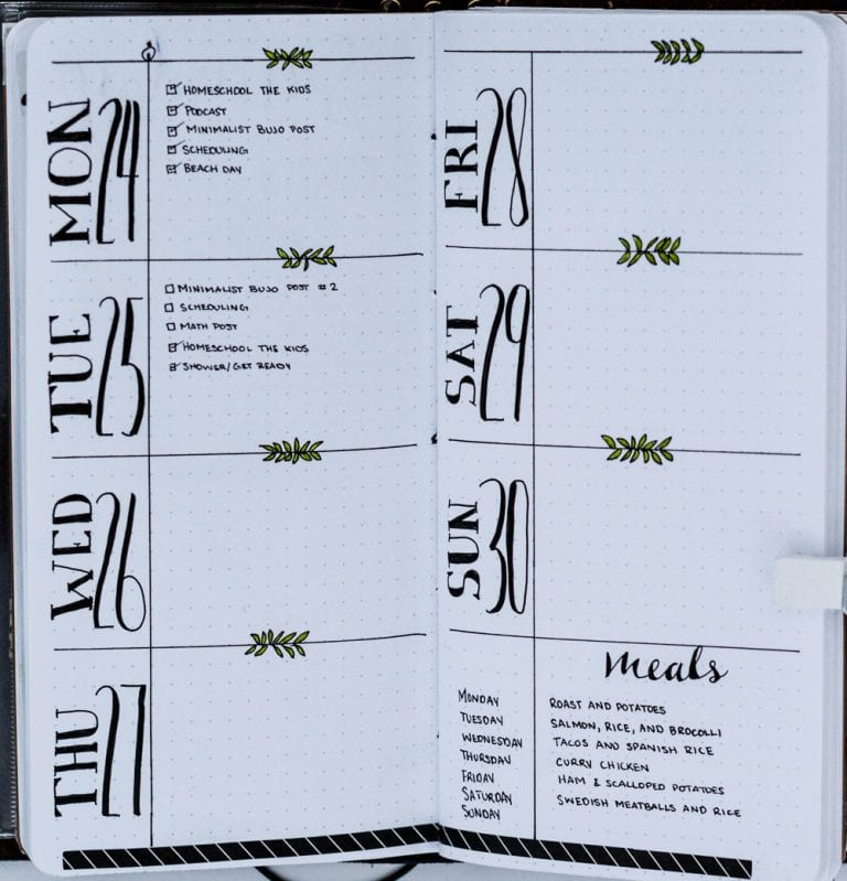 Bullet Journal Ideas: Easy Weekly Layout