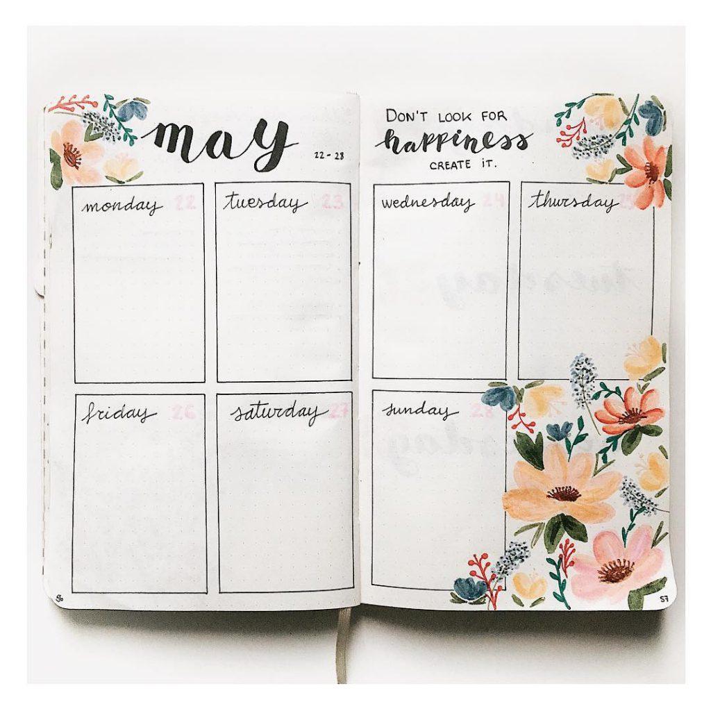 Bullet Journal Ideas: Flower Spread