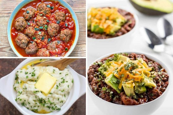 Collage showing three different Instant Pot Keto Recipes in bowls