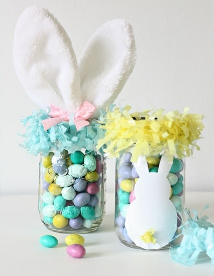 Easter Mason Jar Ideas: Mason Jar Easter Bunny Basket