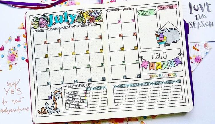 Bullet Journal Ideas: Monthly Layout