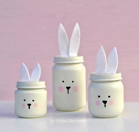Easter Mason Jar Ideas: Painted Easter Bunny Jars