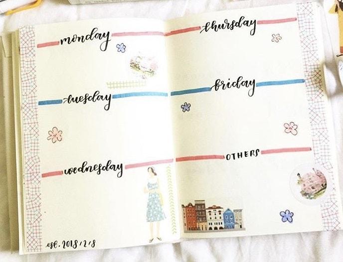 Bullet Journal Ideas: Simple Weekly Spread