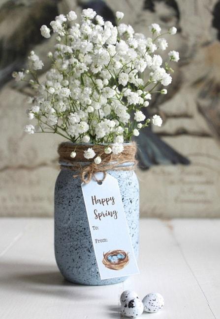 Easter Mason Jar Ideas: Speckled Robin's Egg Mason Jar