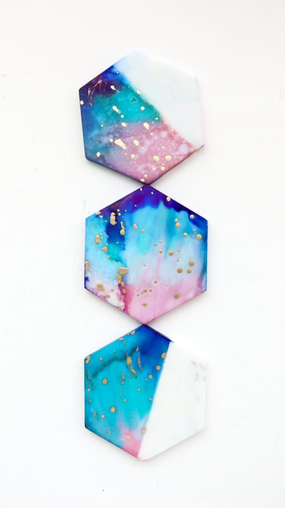 DIY Gifts: Galaxy Marble Coasters