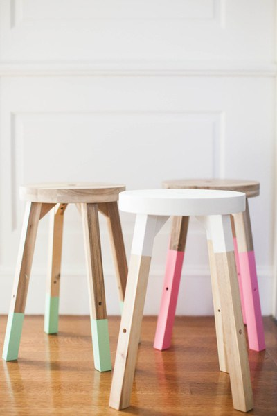DIY IKEA Hacks: Color Dipped Stools