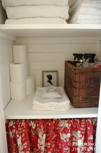 Linen Closet Organization Ideas: Add a Curtain