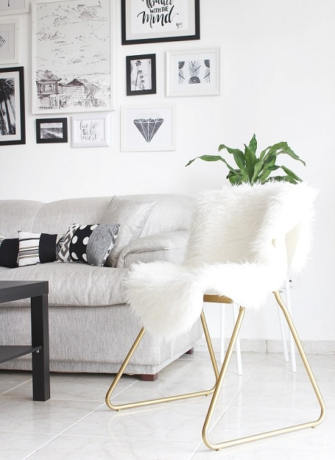 DIY IKEA Hacks: Golden Chair With White Fur