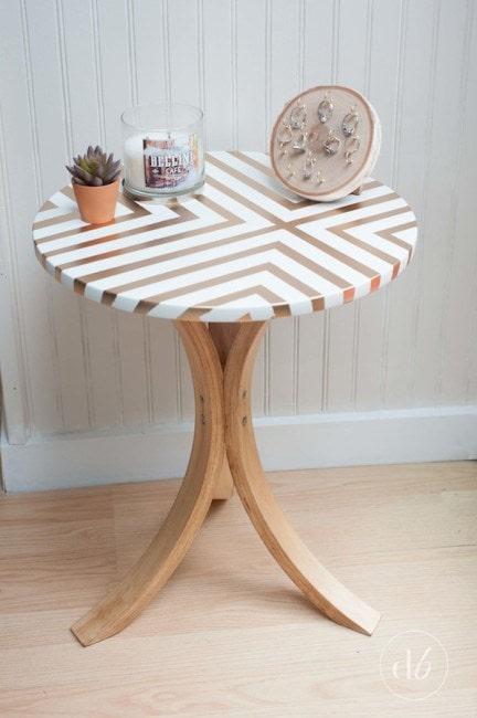 DIY IKEA Hacks: Golden Striped Side Table