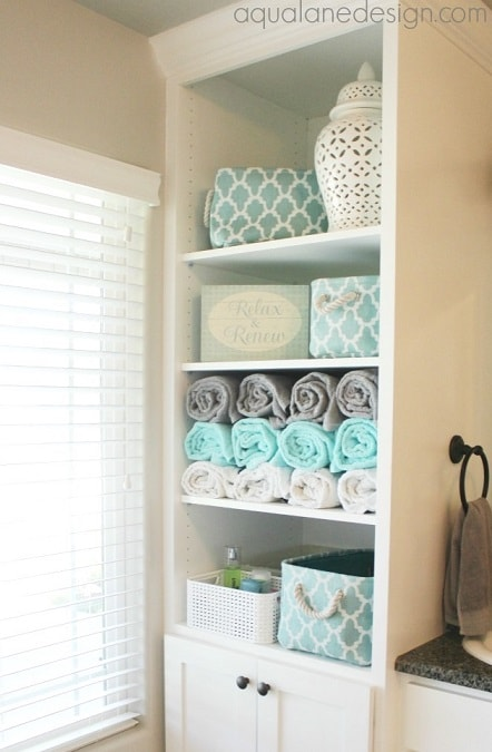 Linen Closet Organization Ideas: Roll your towels