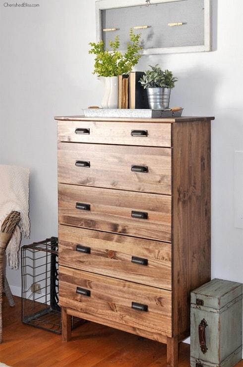 DIY IKEA Hacks: Stained IKEA Tarva Dresser