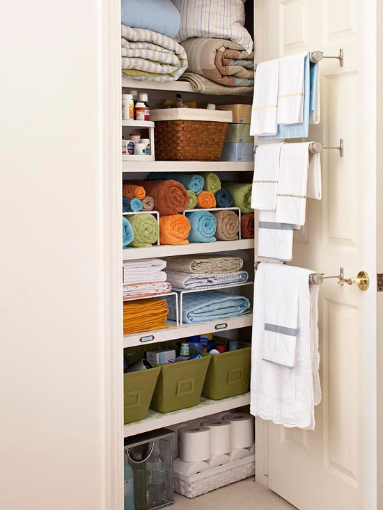 Linen Closet Organization Ideas: Use Towel Bars for extra storage