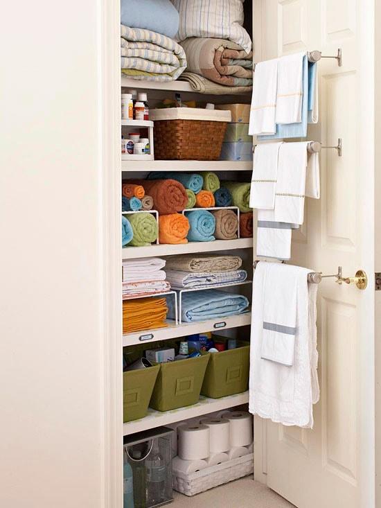 Linen Closet Organization Ideas: Use Towel Bars for extra storage