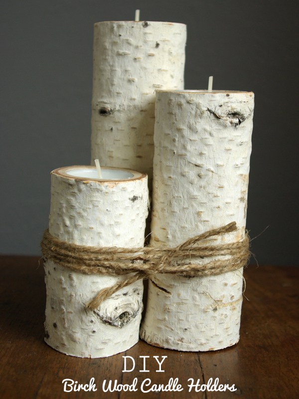 Easy DIY Farmhouse Decor: Birchwood Candle Holders