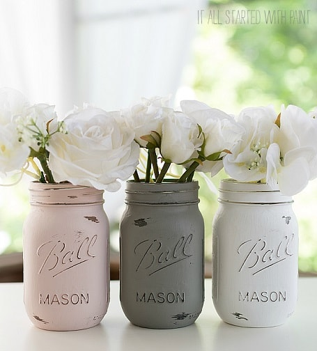 Easy DIY Farmhouse Decor: Painted Mason Jars