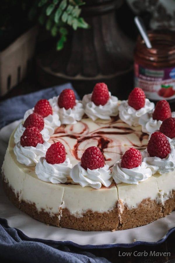 Keto Cheesecake Recipes: Raspberry Swirl Keto Cheesecake