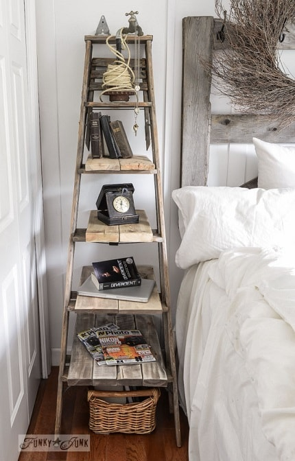 Easy DIY Farmhouse Decor: Stepladder Side Table