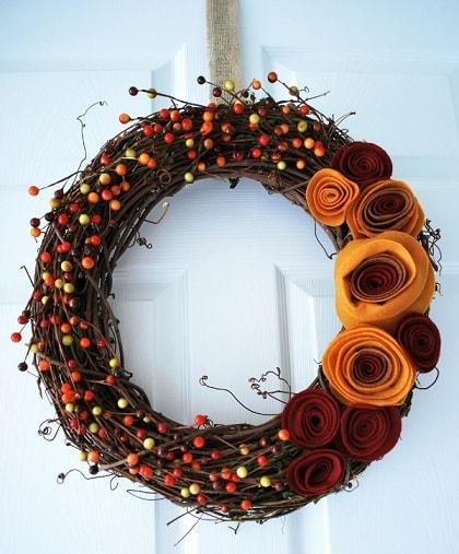 DIY Fall Wreath: Felt Rosettes Wreath